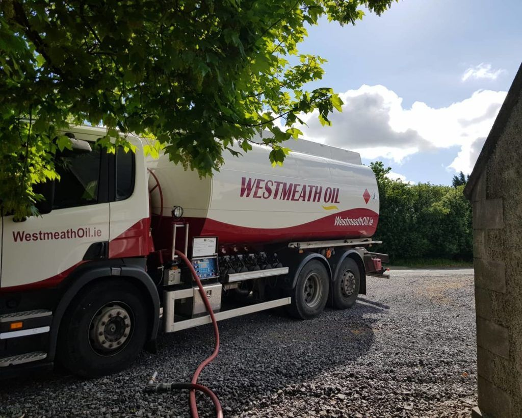 Westmeath Oil truck finishing an oil delivery