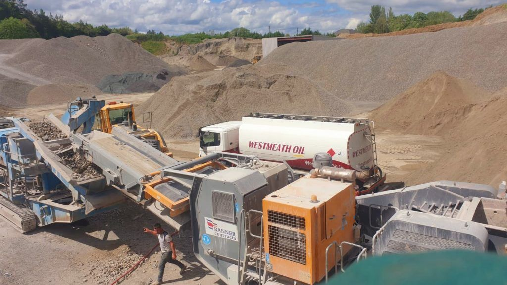 Westmeath Oil truck delivering commercial fuel to a quarry customer